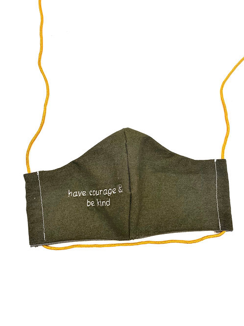"""HAVE COURAGE & BE KIND"" Face Mask in Olive Green Denim"