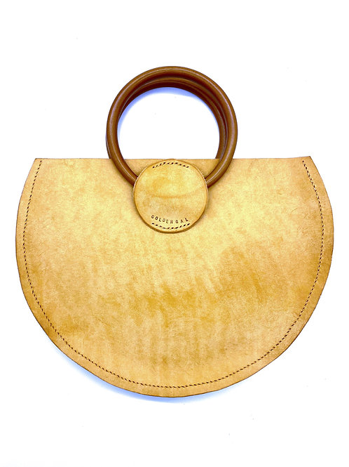"""GOLDEN GAL"" Half Moon Handbag in Tan"