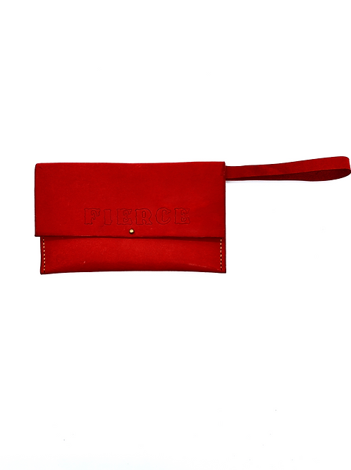 """FIERCE"" Wristlet in Red"