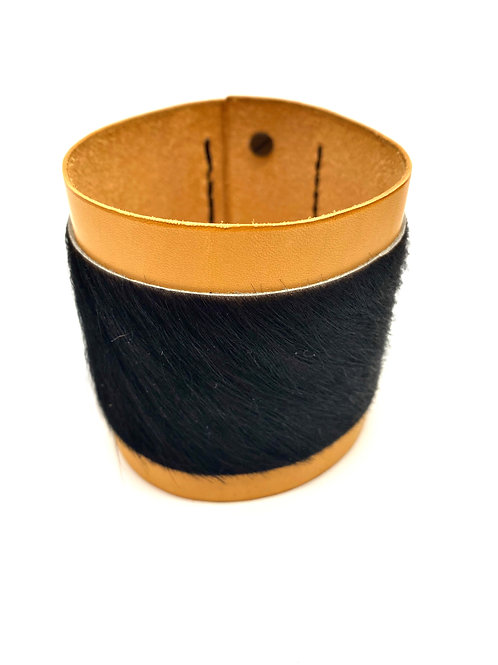 Leather & Calf Hair Cuff Bracelet, in Tan and Black