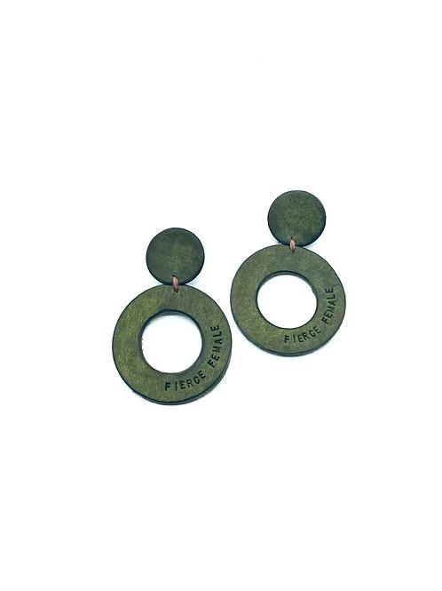 """FIERCE FEMALE"" Circle Earrings in Olive"