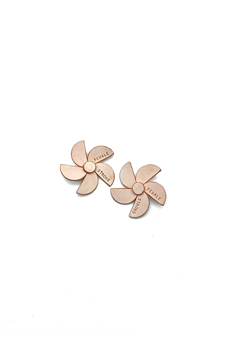"""FEMALE STRONG"" Flower Earrings"