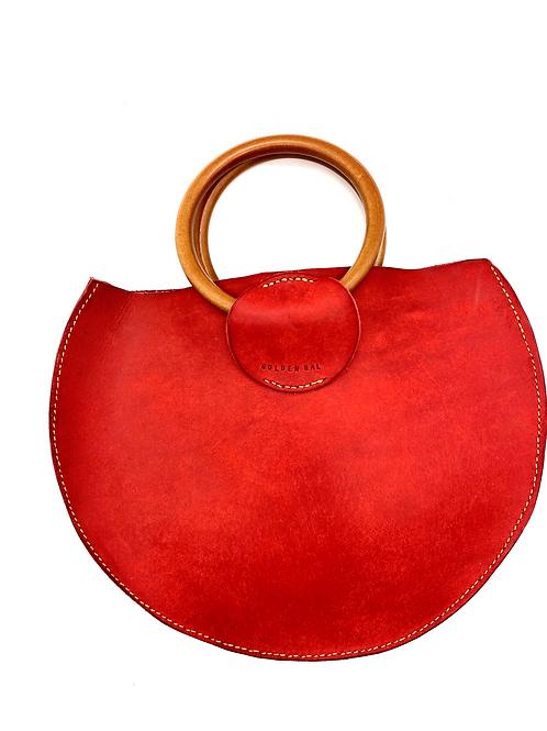"""GOLDEN GAL"" Half Moon Handbag in Red"