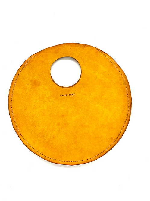 """GIRLS RULE"" Circle Bag in Yellow"