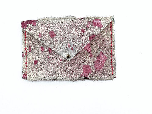 Card Carrier in Acid Washed Pink Calf Hair