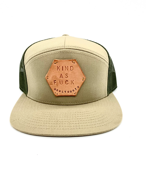 """KIND AS F**K"" Hat in Khaki/Green combo with Tan patch"