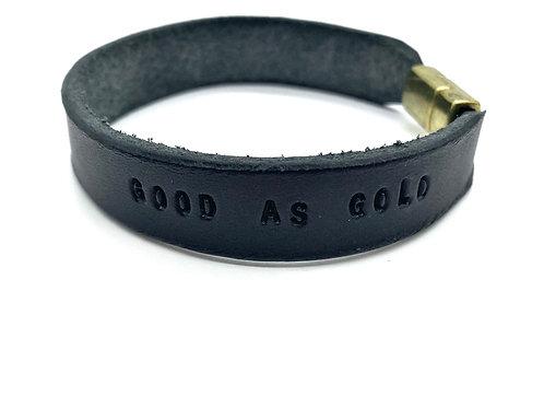 """GOOD AS GOLD"" Cuff in Black"