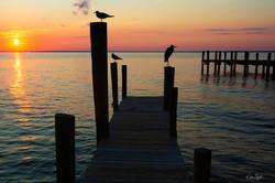 Destin sunset dock color post
