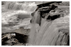 Old Stone Fort waterfall BW post
