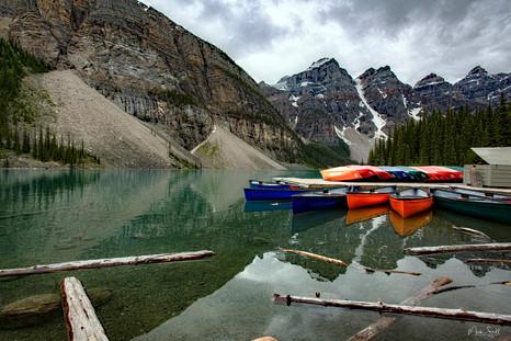 Lake Moraine Resting Canoes