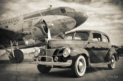 Car WWII 1940 Ford and DC-3 BW aged