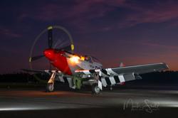 Sunset P-51 Mustang Flaming Start