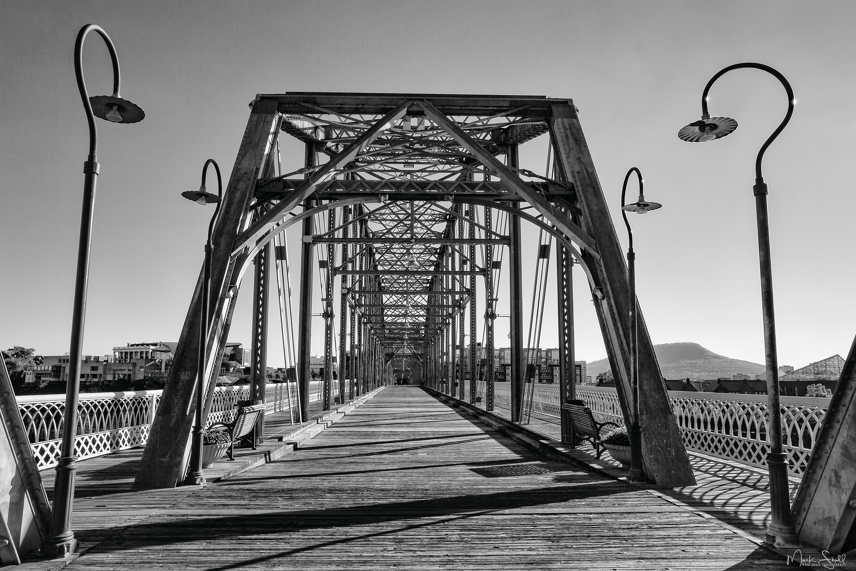 Walnut Street Bridge BW topside