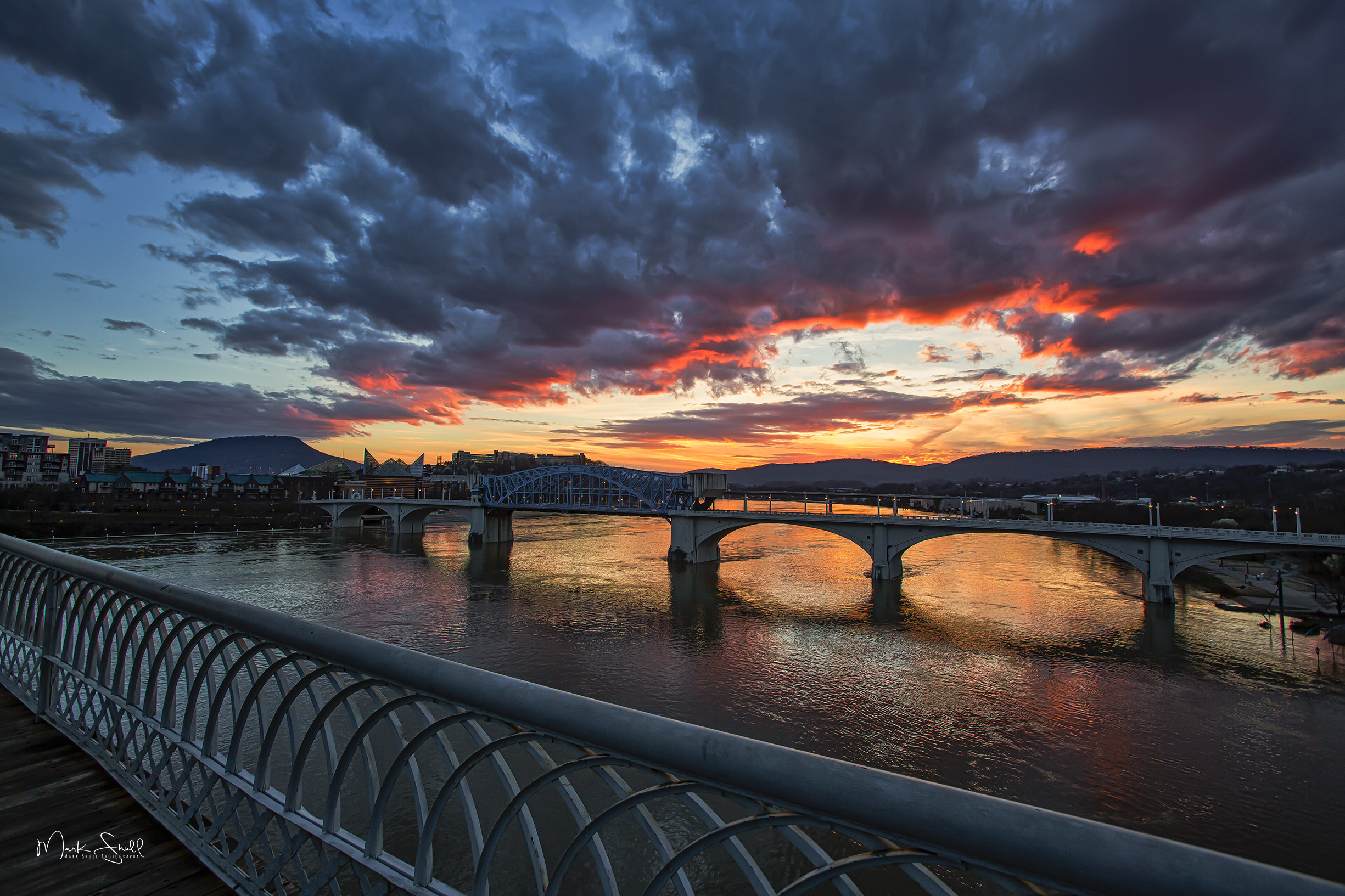 Chattanooga bridge flash sunset
