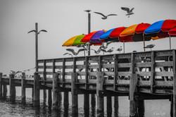 Color on foggy dock