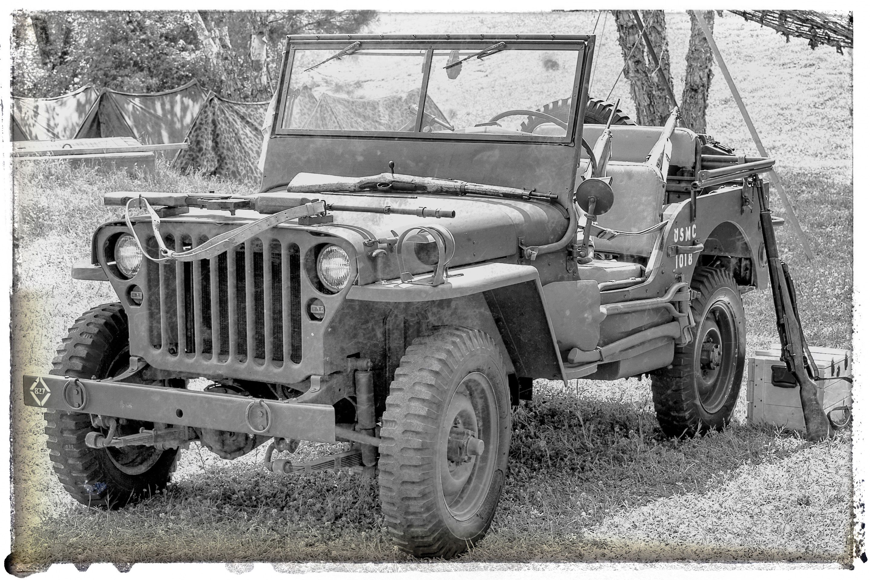 WWII jeep camp aged bw 042118