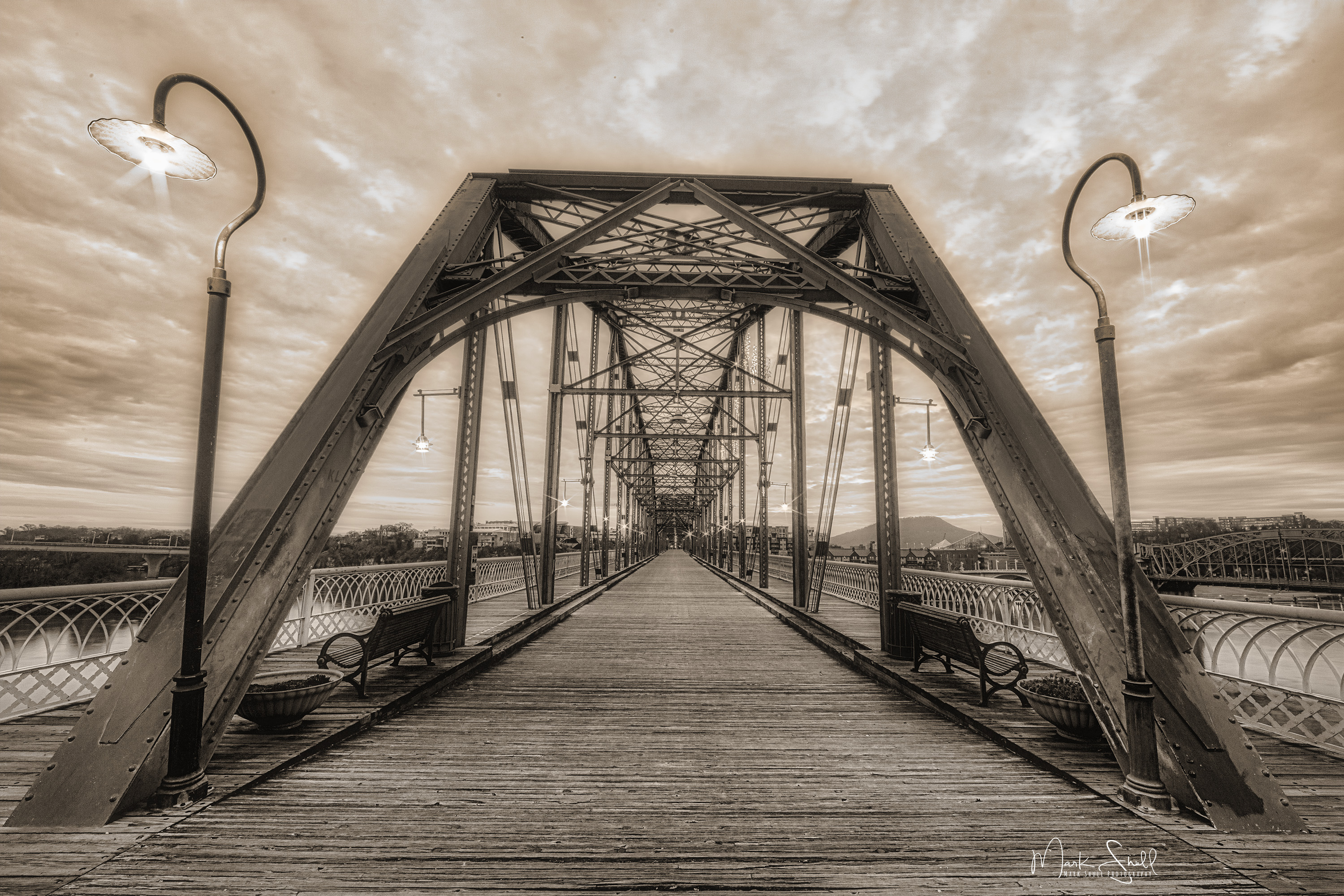 Walnut St Bridge Lights sepia