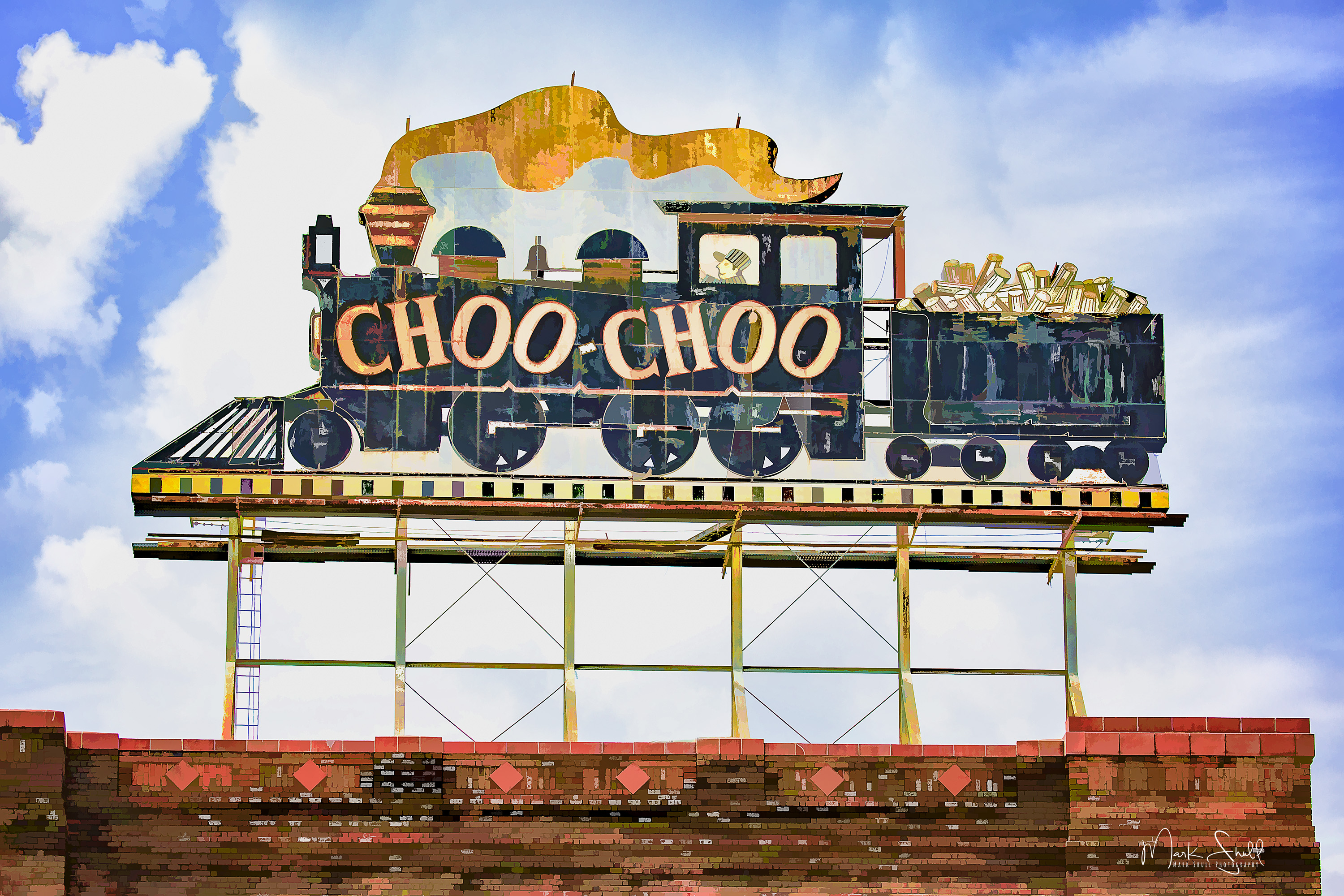 Choo Choo sign atop hotel