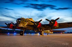 WWII B-17 sunset light