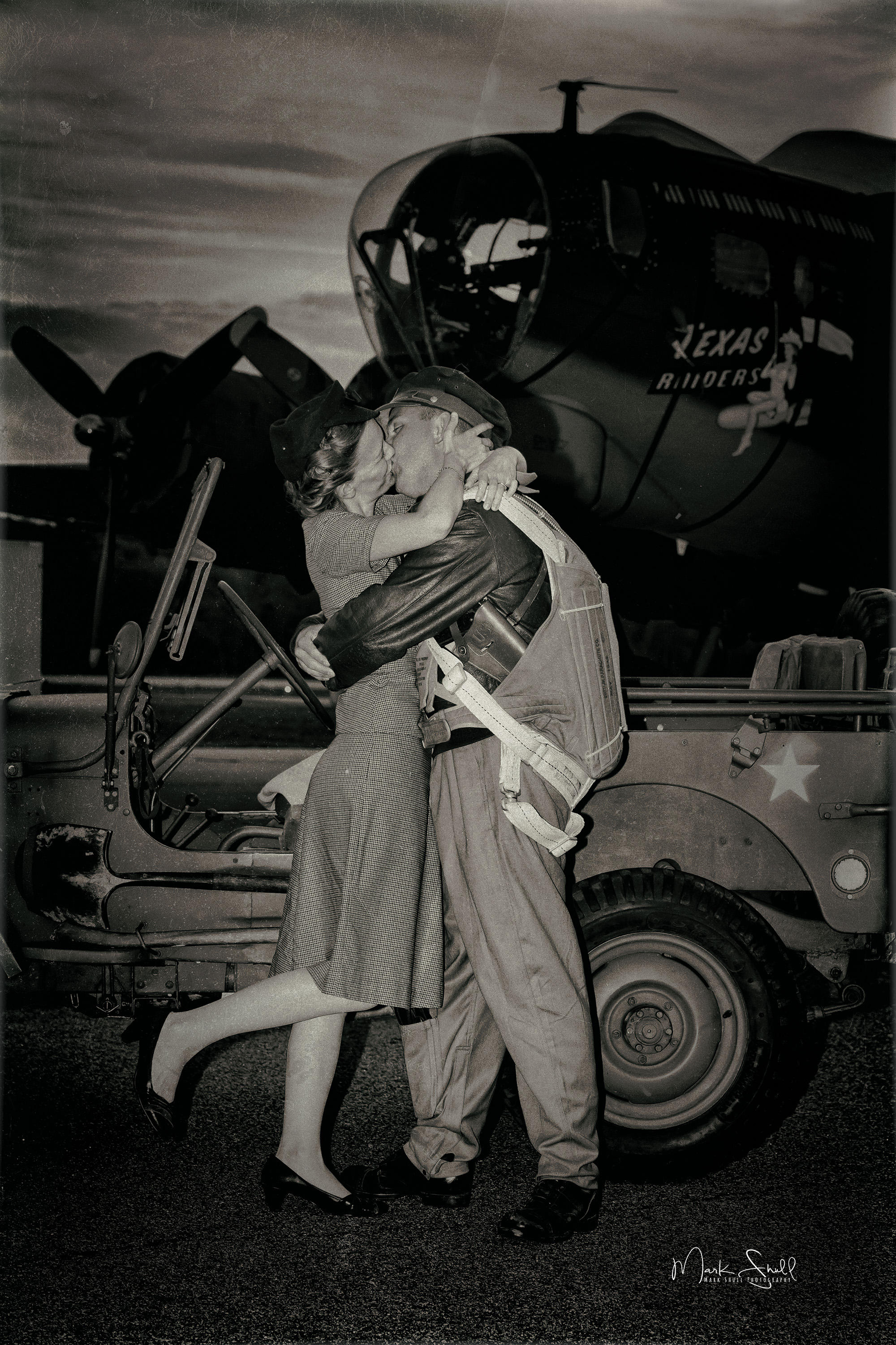 WWII B-17 kiss good bye aged