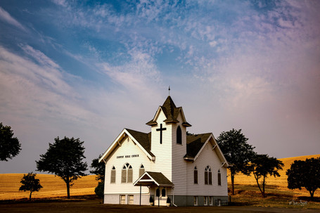 Country Bible Church at harvest - Palouse