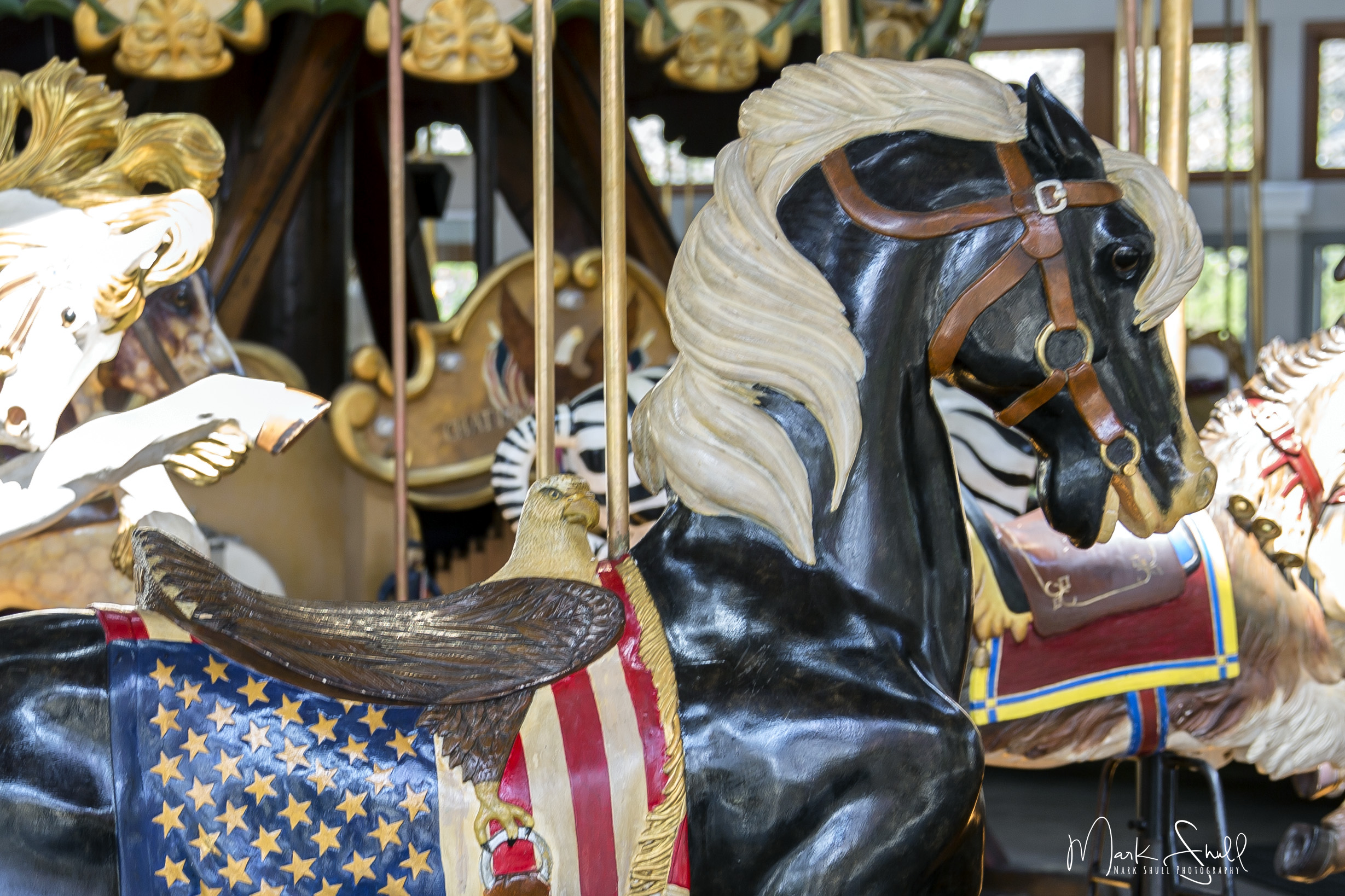 carousel black horse closeup