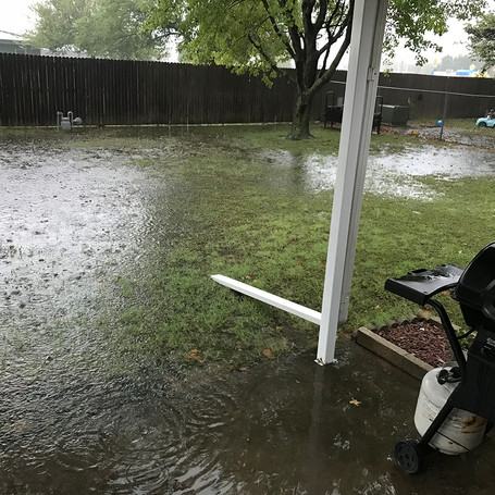 This customer in south Broken Arrow had a small pond in the back yard each time it rained even a little bit. We installed a french drain to move the water, and problem solved.