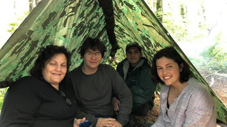 Ready Family in their Tarp Tent for Tea!