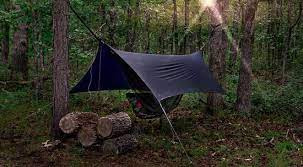 Tarp Tent Camp set for the night with big fire logs!