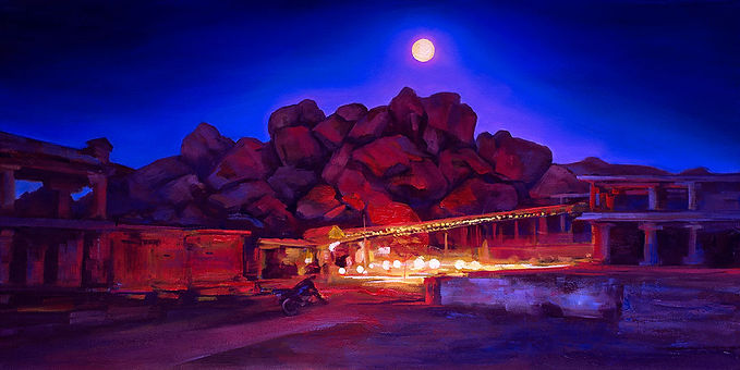 Moonlit Journey, Hampi, India, Fei Lu Art