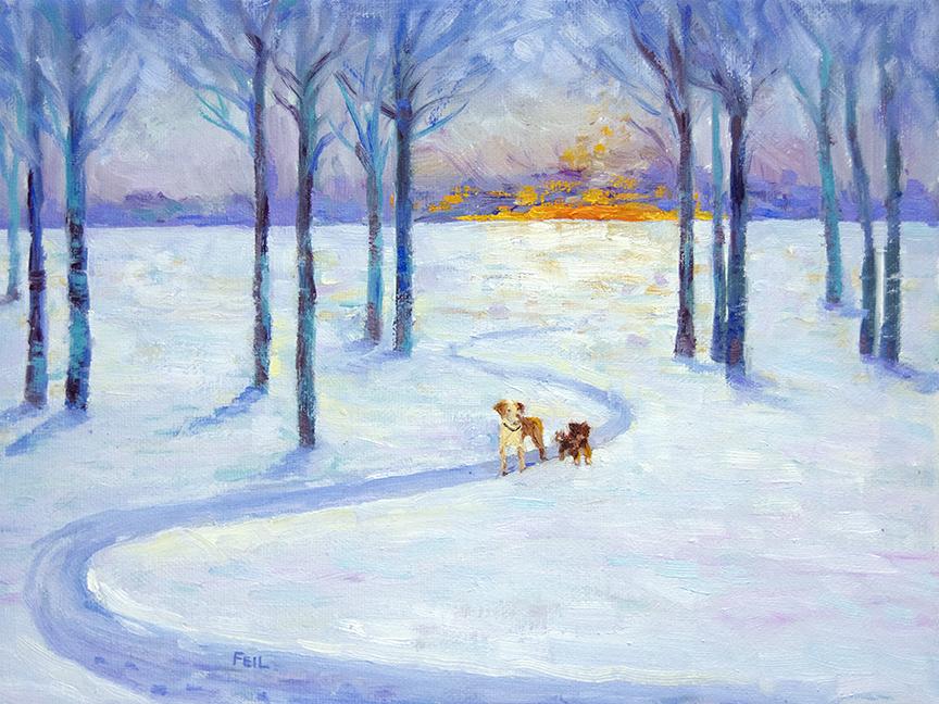 Best friends under the Winter Sunset