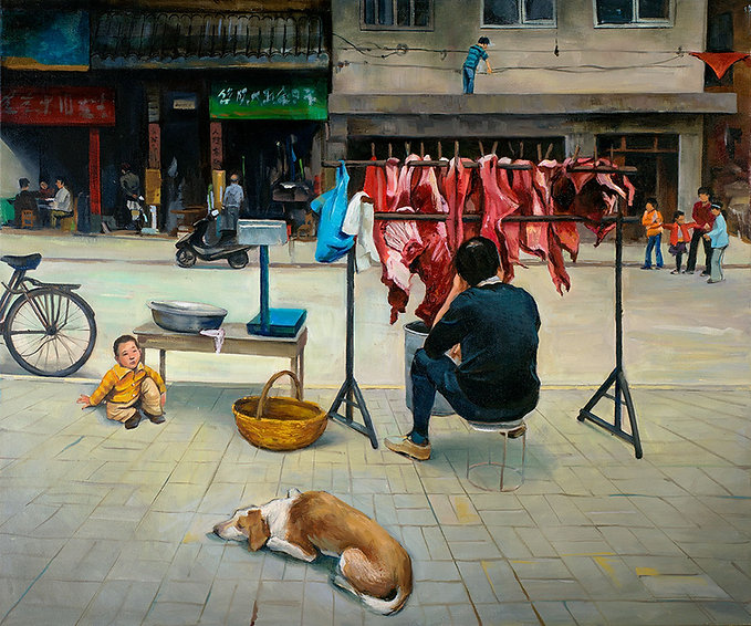 Meat Vendor, Nanyang, China, Fei Lu Art