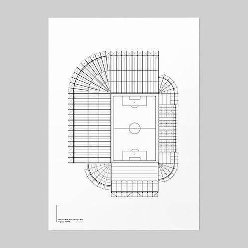 Newcastle United St James' Park Linear Stadium Print