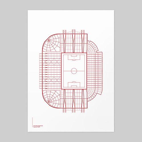 Manchester United Old Trafford Linear Stadium Print