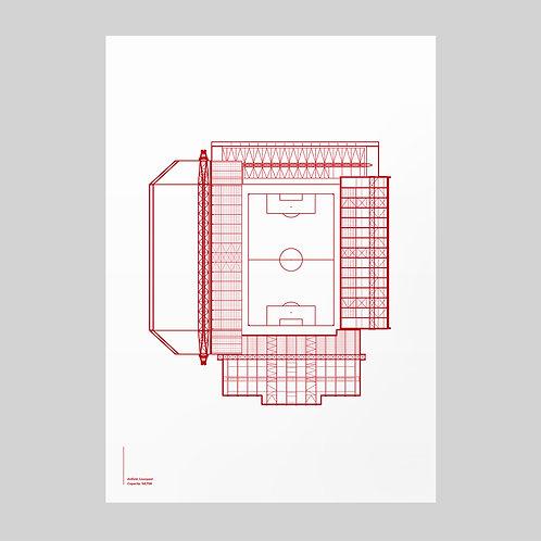 Liverpool Anfield Linear Stadium Print