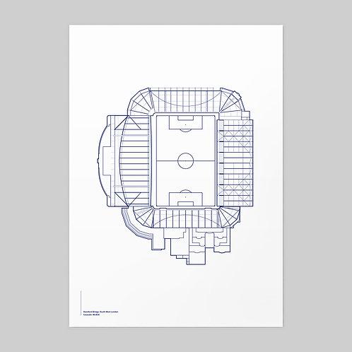 Chelsea Stamford Bridge Linear Stadium Print