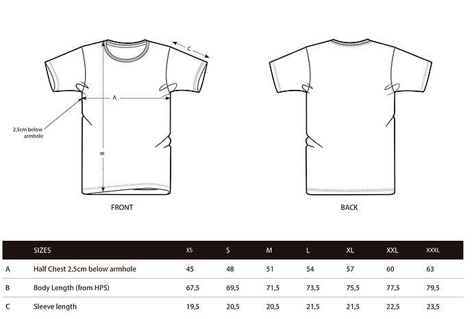 Male tshirt size guide