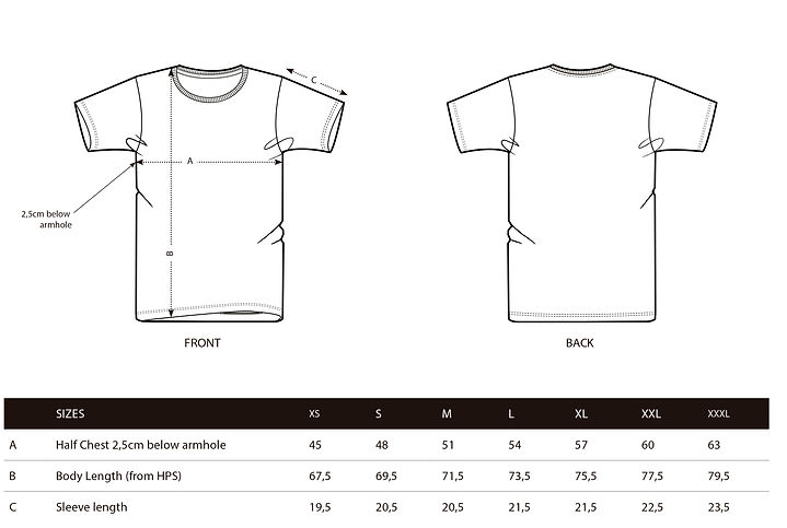 Male tshirt size guide