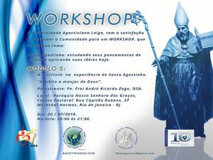 """Workshop: Conheça o conteúdo do Módulo 5 – A escritura  na  experiência de Santo Agostinho. """"A Bíbli"""