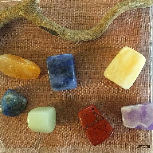 pochette pierres 7 chakras (ensemble E)