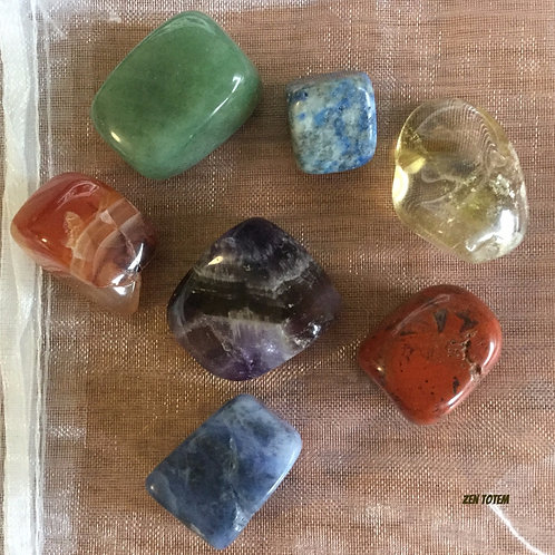 pochettes pierres 7 chakras (ensemble F)