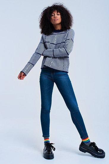 Navy Textured Sweater