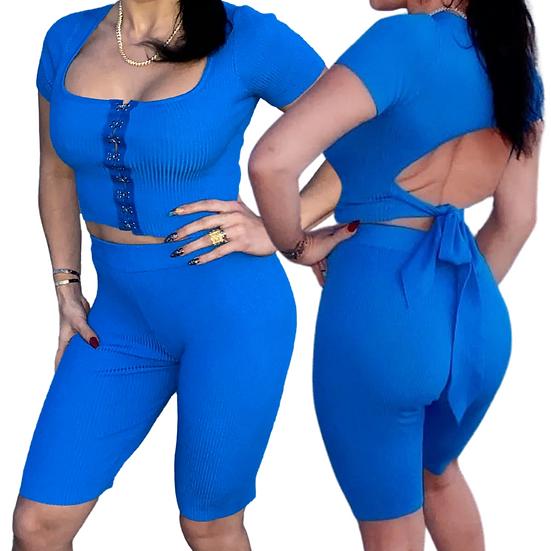 Royal blue two piece set