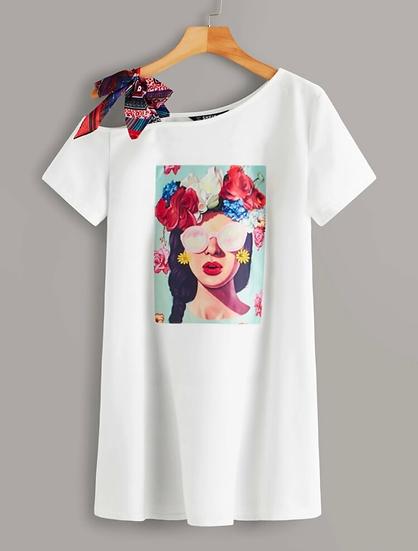 Asymmetrical Print Dress