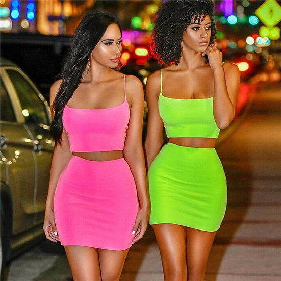 2 Piece Outfits Crop Top and Skirt Set
