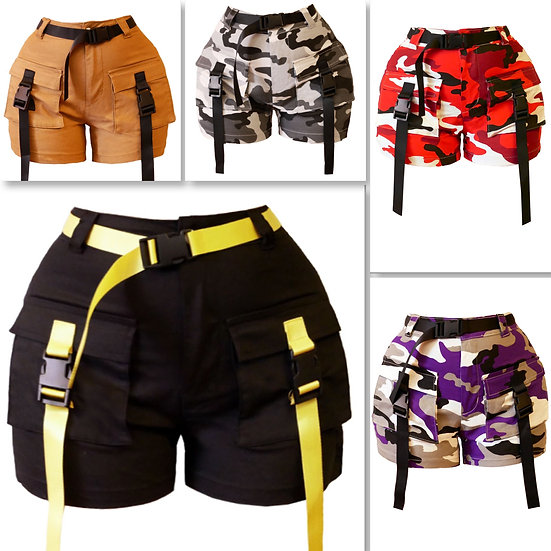NEW STYLE NYC BUCKLE UP BELTED SHORTS