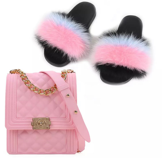 Pink candy clutch & Fur slippers