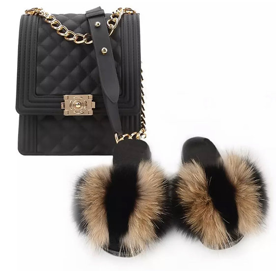 Real Fur slippers & PVC Candy Clutch