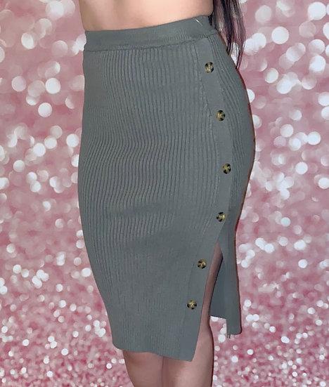 Casual Knit Midi Skirt