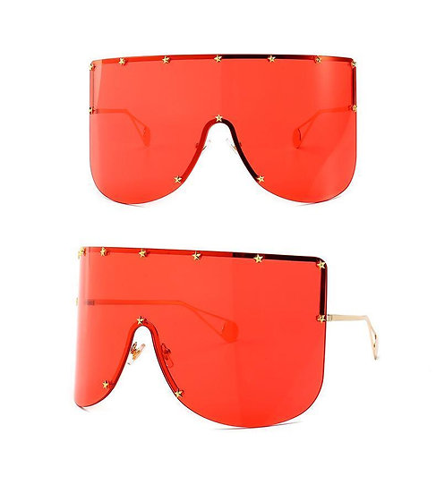 Elaiza Oversized Sunglasses - Gold Red
